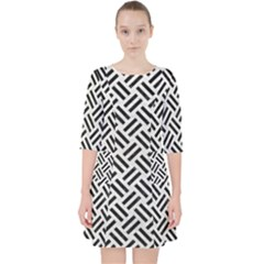 Woven2 Black Marble & White Leather Pocket Dress