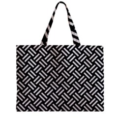 Woven2 Black Marble & White Leather (r) Zipper Mini Tote Bag