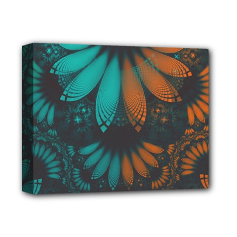 Beautiful Teal And Orange Paisley Fractal Feathers Deluxe Canvas 14  X 11  by jayaprime