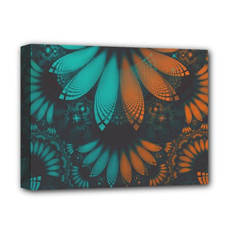 Beautiful Teal And Orange Paisley Fractal Feathers Deluxe Canvas 16  X 12   by jayaprime