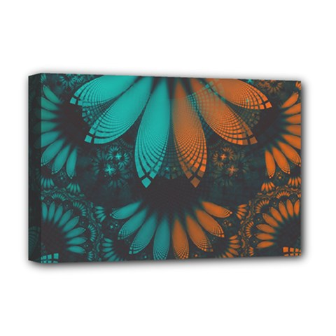 Beautiful Teal And Orange Paisley Fractal Feathers Deluxe Canvas 18  X 12   by jayaprime