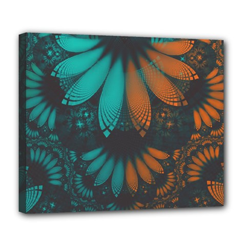 Beautiful Teal And Orange Paisley Fractal Feathers Deluxe Canvas 24  X 20   by jayaprime