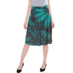 Beautiful Teal And Orange Paisley Fractal Feathers Midi Beach Skirt by jayaprime