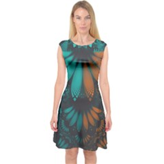 Beautiful Teal And Orange Paisley Fractal Feathers Capsleeve Midi Dress by jayaprime