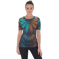 Beautiful Teal And Orange Paisley Fractal Feathers Short Sleeve Top