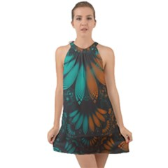 Beautiful Teal And Orange Paisley Fractal Feathers Halter Tie Back Chiffon Dress