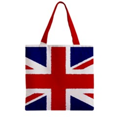 Union Jack Watercolor Drawing Art Zipper Grocery Tote Bag by picsaspassion