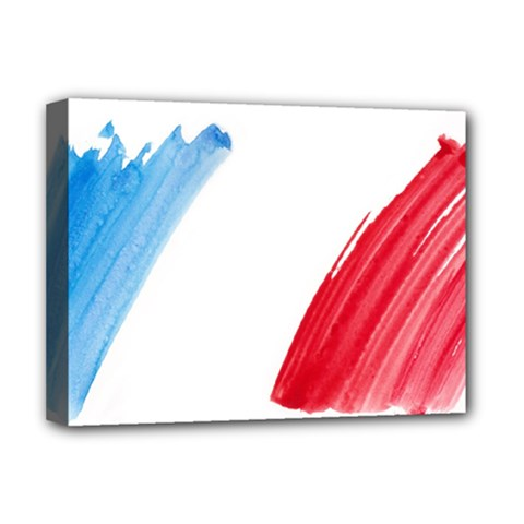 France Flag, Banner Watercolor Painting Art Deluxe Canvas 16  X 12   by picsaspassion