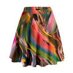 Abstract Acryl Art High Waist Skirt by tarastyle