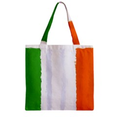 Flag Ireland, Banner Watercolor Painting Art Zipper Grocery Tote Bag by picsaspassion