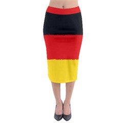 German Flag, Banner Deutschland, Watercolor Painting Art Midi Pencil Skirt by picsaspassion