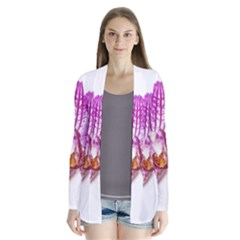 Lilac Phalaenopsis Aquarel  Watercolor Art Painting Drape Collar Cardigan