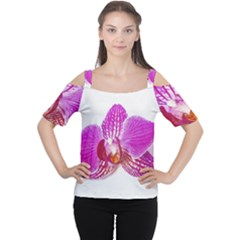Lilac Phalaenopsis Flower, Floral Oil Painting Art Cutout Shoulder Tee by picsaspassion