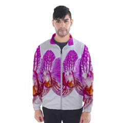 Lilac Phalaenopsis Flower, Floral Oil Painting Art Wind Breaker (men)