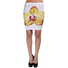 Yellow Phalaenopsis Flower, Floral Aquarel Watercolor Painting Art Bodycon Skirt by picsaspassion
