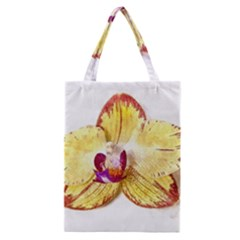 Yellow Phalaenopsis Flower, Floral Aquarel Watercolor Painting Art Classic Tote Bag by picsaspassion