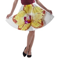 Yellow Phalaenopsis Flower, Floral Aquarel Watercolor Painting Art A Line Skater Skirt by picsaspassion