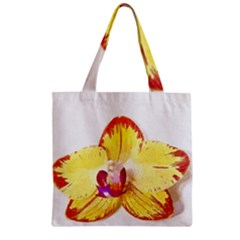 Phalaenopsis Yellow Flower, Floral Oil Painting Art Zipper Grocery Tote Bag by picsaspassion