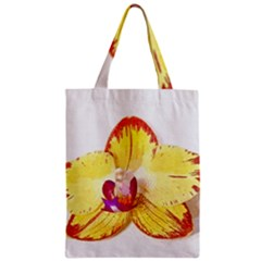 Phalaenopsis Yellow Flower, Floral Oil Painting Art Zipper Classic Tote Bag by picsaspassion