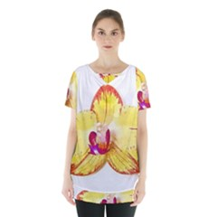 Phalaenopsis Yellow Flower, Floral Oil Painting Art Skirt Hem Sports Top by picsaspassion