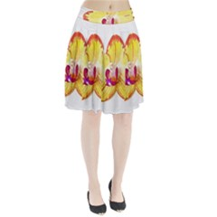 Phalaenopsis Yellow Flower, Floral Oil Painting Art Pleated Skirt by picsaspassion