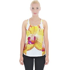 Phalaenopsis Yellow Flower, Floral Oil Painting Art Piece Up Tank Top by picsaspassion