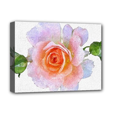 Pink Rose Flower, Floral Oil Painting Art Deluxe Canvas 16  X 12   by picsaspassion