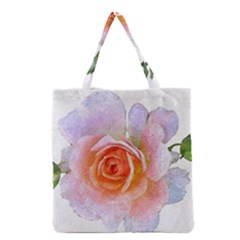 Pink Rose Flower, Floral Oil Painting Art Grocery Tote Bag by picsaspassion