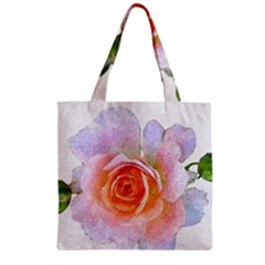 Pink Rose Flower, Floral Oil Painting Art Zipper Grocery Tote Bag by picsaspassion
