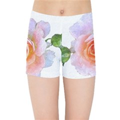Pink Rose Flower, Floral Oil Painting Art Kids Sports Shorts