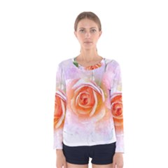 Pink Rose Flower, Floral Watercolor Aquarel Painting Art Women s Long Sleeve Tee by picsaspassion