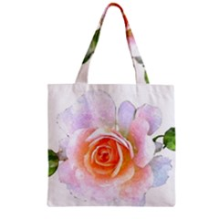 Pink Rose Flower, Floral Watercolor Aquarel Painting Art Zipper Grocery Tote Bag by picsaspassion