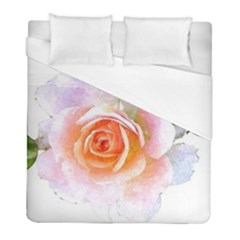 Pink Rose Flower, Floral Watercolor Aquarel Painting Art Duvet Cover (full/ Double Size) by picsaspassion
