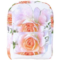 Pink Rose Flower, Floral Watercolor Aquarel Painting Art Full Print Backpack by picsaspassion