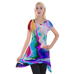 Abstract Acryl Art Short Sleeve Side Drop Tunic
