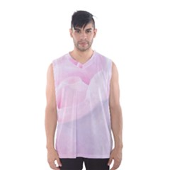 Rose Pink Flower, Floral Aquarel   Watercolor Painting Art Men s Basketball Tank Top by picsaspassion