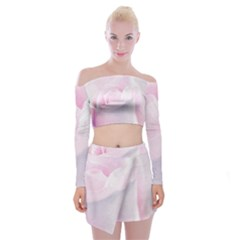 Rose Pink Flower, Floral Aquarel   Watercolor Painting Art Off Shoulder Top With Mini Skirt Set by picsaspassion
