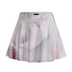 Rose Pink Flower  Floral Pencil Drawing Art Mini Flare Skirt by picsaspassion