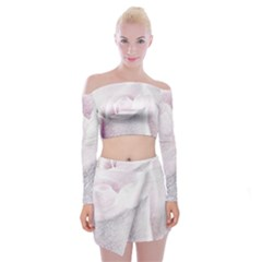 Rose Pink Flower  Floral Pencil Drawing Art Off Shoulder Top With Mini Skirt Set by picsaspassion
