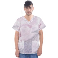 Rose Pink Flower  Floral Pencil Drawing Art Men s V Neck Scrub Top by picsaspassion