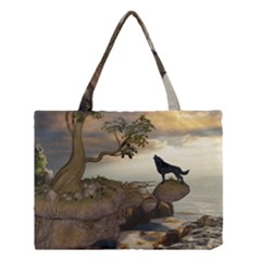 The Lonely Wolf On The Flying Rock Medium Tote Bag by FantasyWorld7