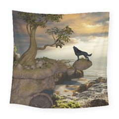 The Lonely Wolf On The Flying Rock Square Tapestry (large) by FantasyWorld7