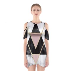 Triangles,gold,black,pink,marbles,collage,modern,trendy,cute,decorative, Shoulder Cutout One Piece by 8fugoso