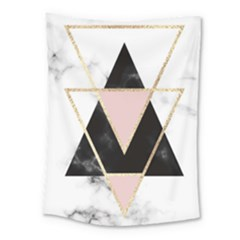 Triangles,gold,black,pink,marbles,collage,modern,trendy,cute,decorative, Medium Tapestry by 8fugoso