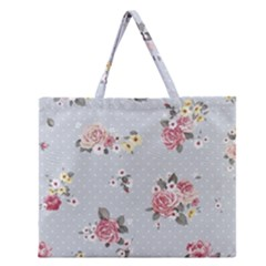 Floral Blue Zipper Large Tote Bag by 8fugoso