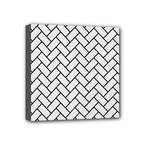 Brick2 Black Marble & White Linen Mini Canvas 4  X 4  by trendistuff