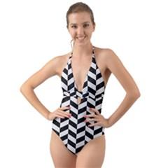 Chevron1 Black Marble & White Linen Halter Cut Out One Piece Swimsuit