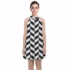 Chevron1 Black Marble & White Linen Velvet Halter Neckline Dress