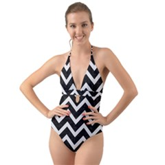 Chevron9 Black Marble & White Linen (r) Halter Cut Out One Piece Swimsuit by trendistuff