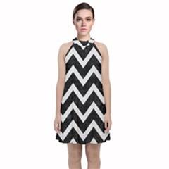 Chevron9 Black Marble & White Linen (r) Velvet Halter Neckline Dress